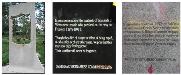 Bia tưởng niệm thuyền nhân vượt viển tìm tự do  bị CSVN đòi chính quyền Ìndonesia đập bỏ. Nguồn: OntheNet