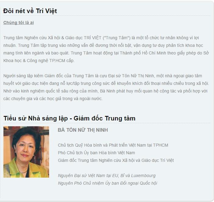 Trang Trung Tâm Nghiên Cứu Xã Hội Và Giáo Dục Trí Việt. Nguồn: triviet.org