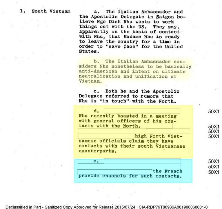 Báo cáo của CIA (4 tháng 9, 1963), Công bố 24 tháng 7, 2015). Nguồn: The Central Intelligence Agency, The President's Intelligence Checklist.