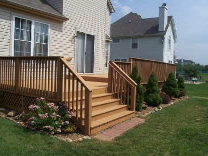 home improvement rear deck stairs courner