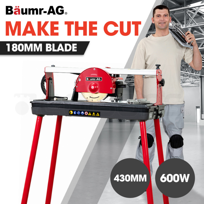 baumr ag 600w 430mm electric wet tile saw cutter with 180mm 7 blade