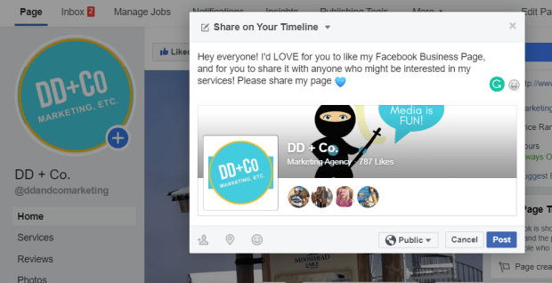 invite your facebook friends to like your page