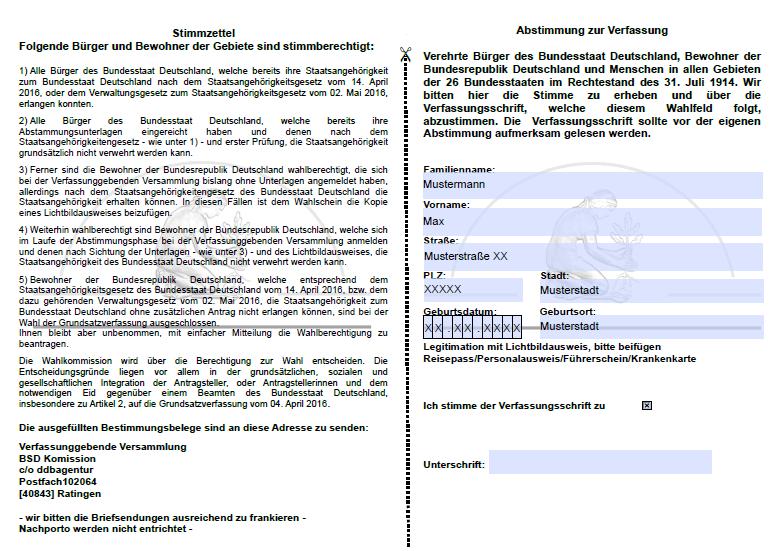 Stimmzettel zum Referendum