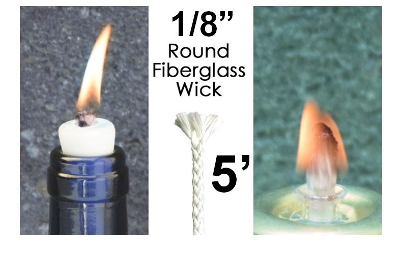 1 8 Round Fiberglass Wick 5 Replacement Wick For Rock Candles Oil Lamps Torches