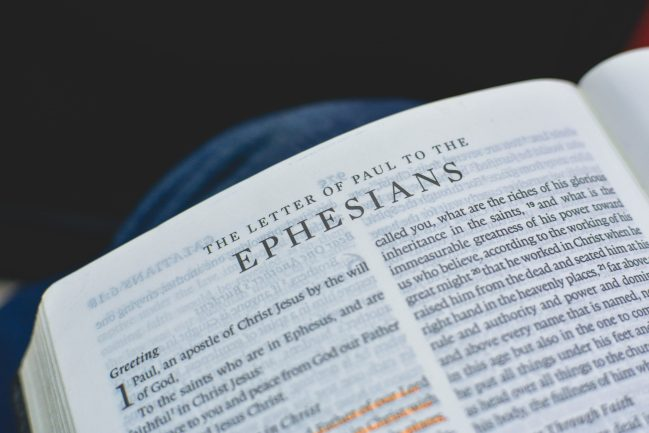 Bible open to Ephesians