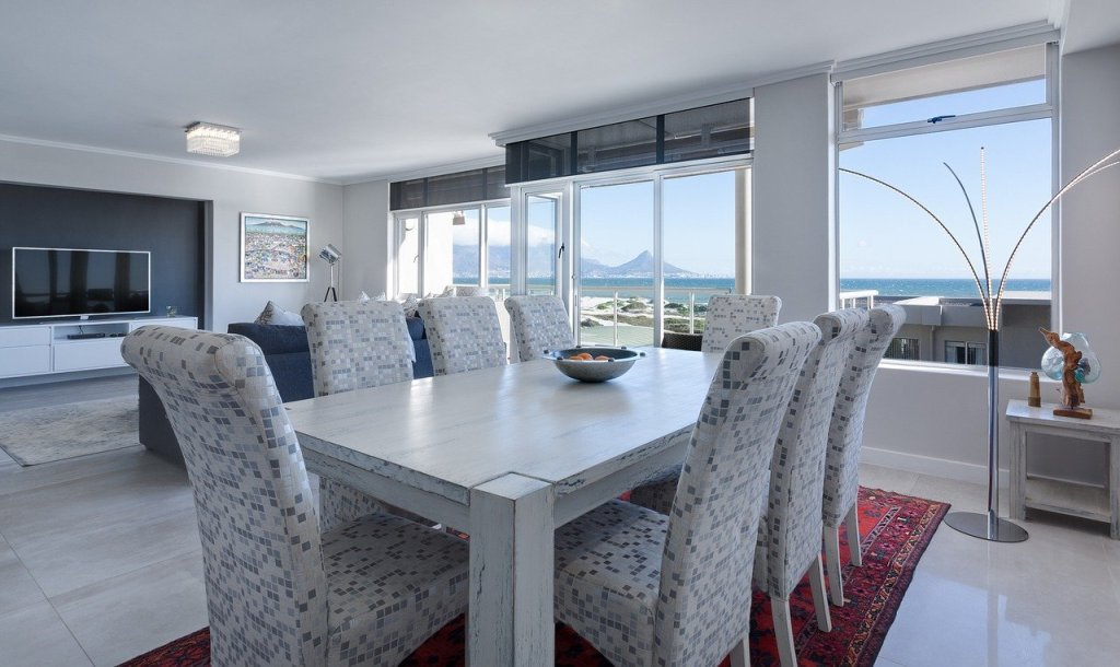 dining room, living room, modern