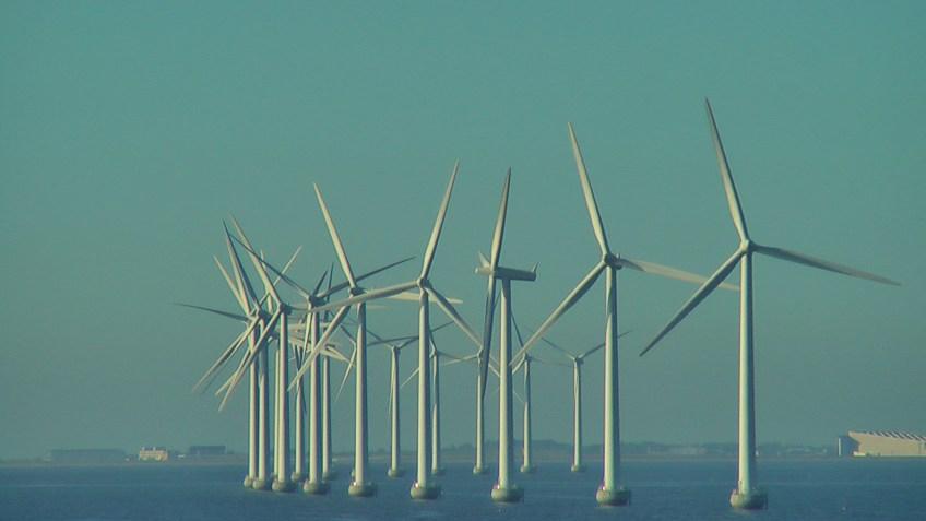 Wind Turbines off-shore Copenhagen, Denmark. Picture by D. Dears