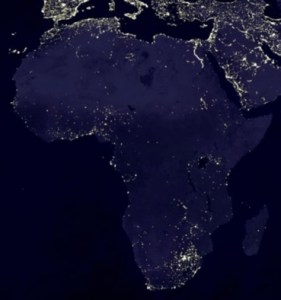 NASA satellite image of Africa where electricity is not