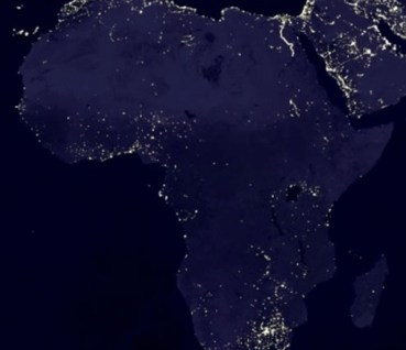 NASA satellite image of Africa where electricity is not readily available
