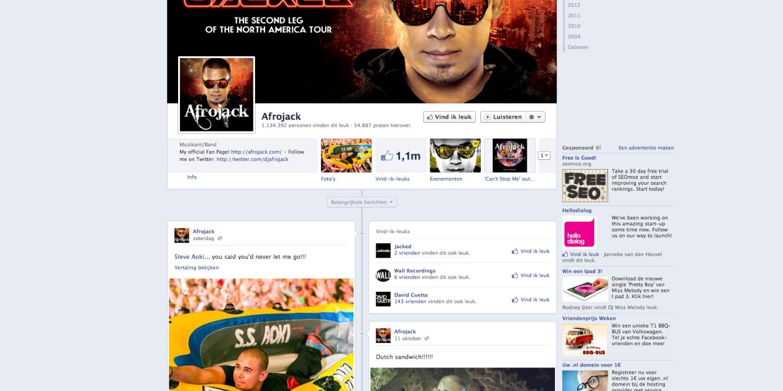 Afrojack op Facebook