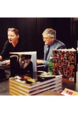 <p>David Hockney en Hilde Peleman van Copyright Bookshop<br /> Foto&#8217;s Gerald Dauphin</p>