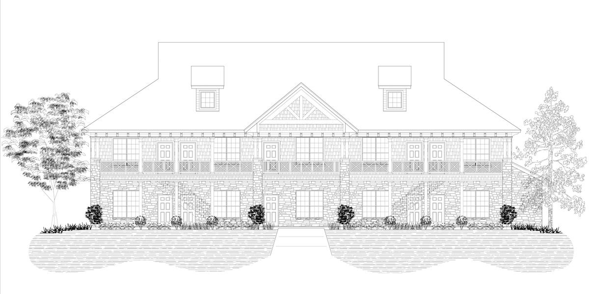 Rendering of the front of the Resort Villas