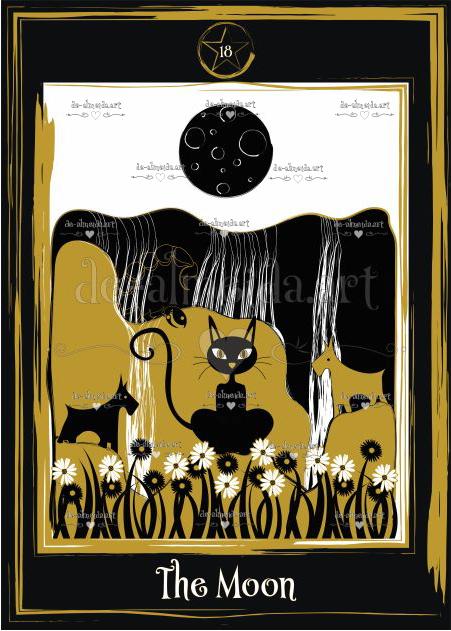 Black cat tarot - The Moon