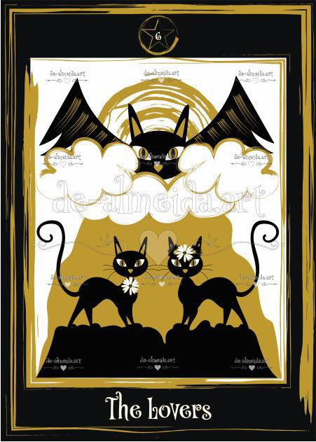 Black cat tarot - The Lovers