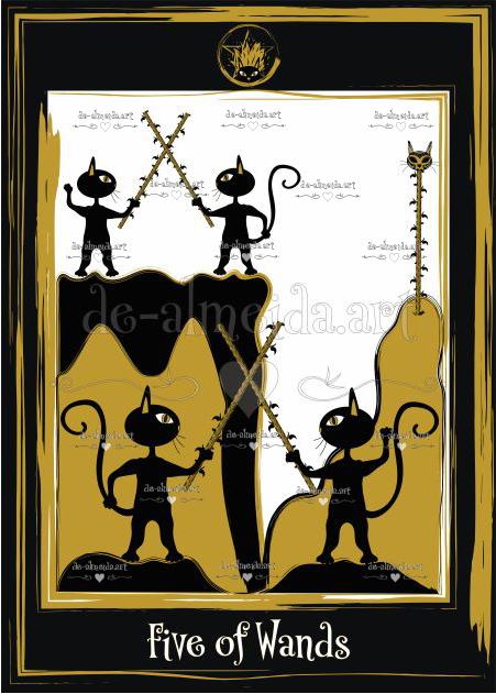 Black cat tarot - Five of Wands