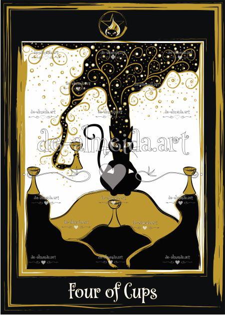 Black cat tarot - Four of Cups