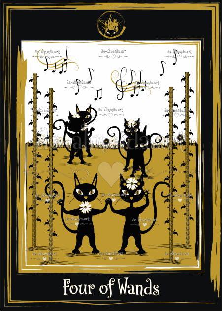 Black cat tarot - Four of Wands