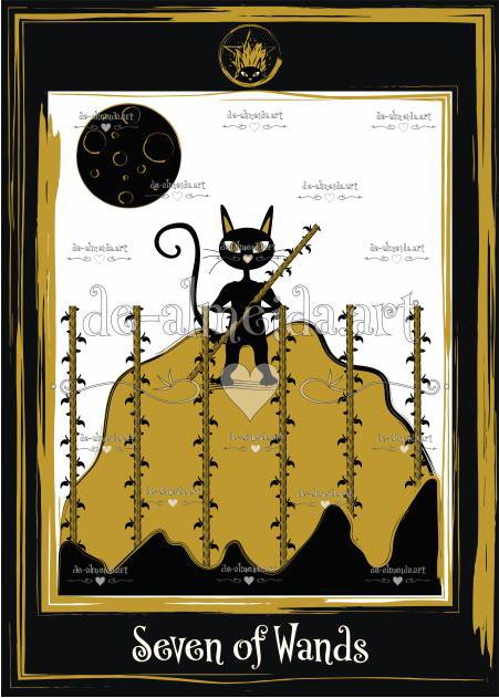 Black cat tarot - Seven of Wands
