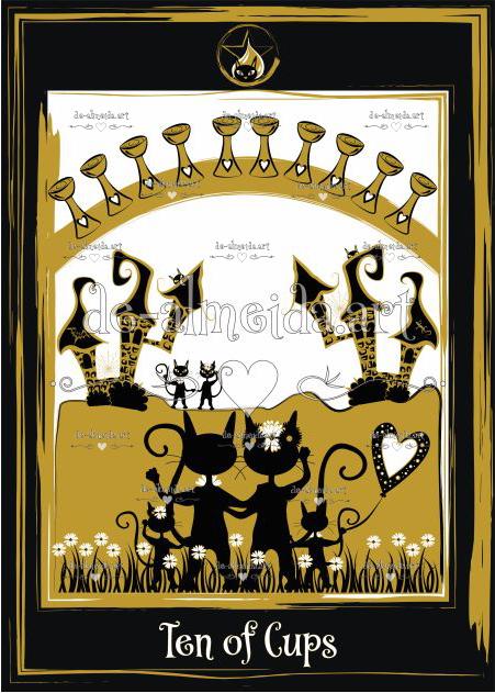 Black cat tarot - Ten of