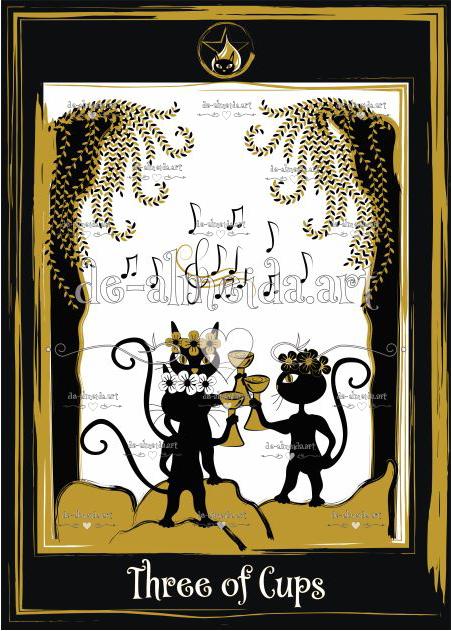 Black cat tarot - Three of Cups