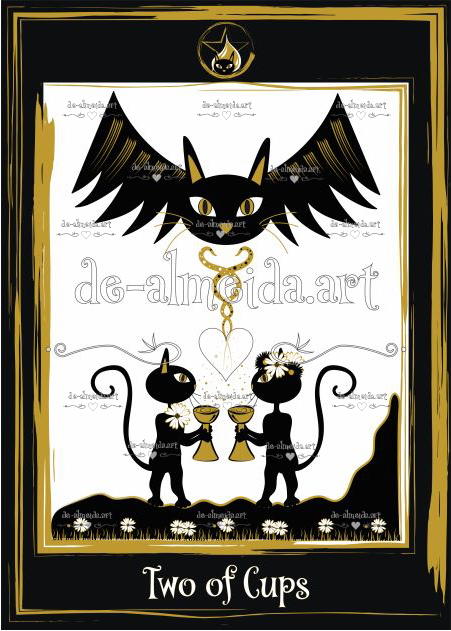 Black cat tarot - Two of Cups