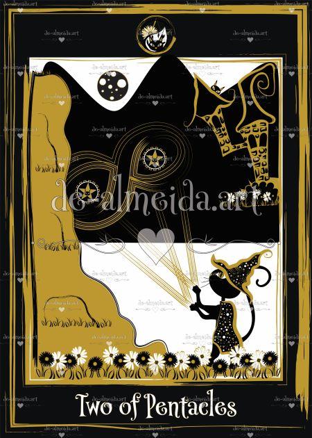 Black cat tarot - Two of Pentacles