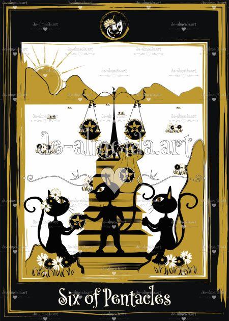 Black cat tarot - Six of Pentacles