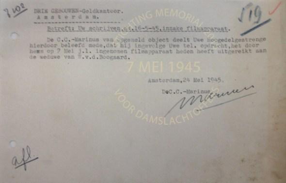 Notitie in Nationaal Archief gevonden, betreffende de teruggave van de filmcamera aan weduwe van den Boogaard