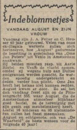 40 jr huw Feller-Heuser, de Waarheid 27-2-1948