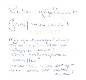 De door de ouders van Wim opgestelde tekst voor grafsteen bleek door de autoriteiten niet toegestaan te zijn.