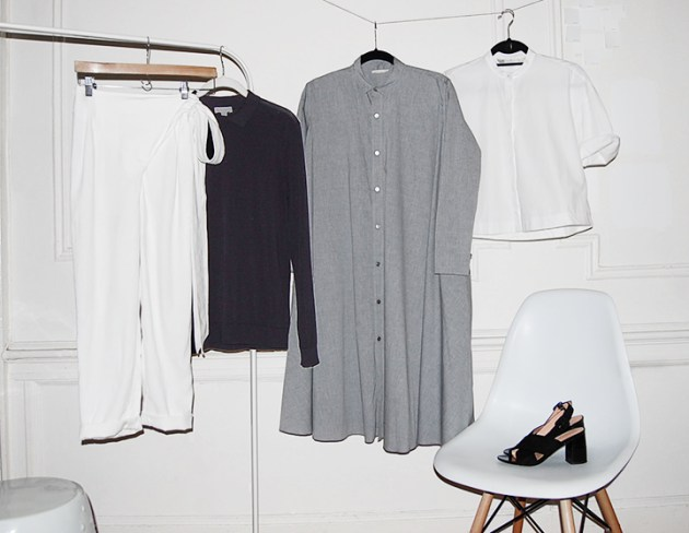 5-piece-french-wardrobe-apeice-apart-linen-wrap-pants-cos-navy-knit-6397-shirt-dress-zara-white-shirt-robert-clergerie-marlon-suede-slide-sandal-desmitten