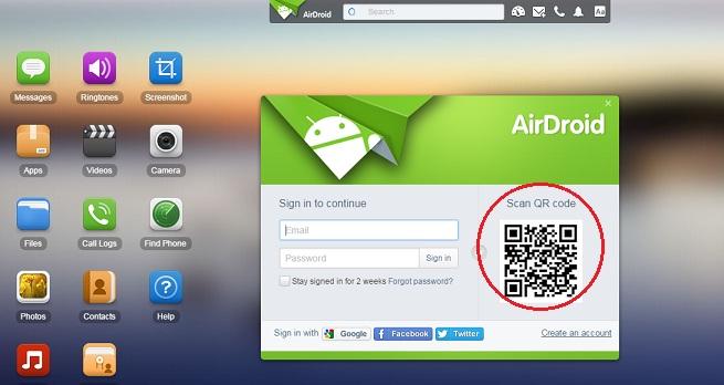 Halaman web airdroid -1