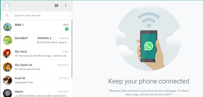 Halaman WhatsApp web pada laptop/PC