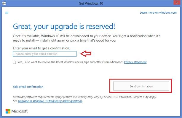 Reservasi Windows 10 - email konfirmasi
