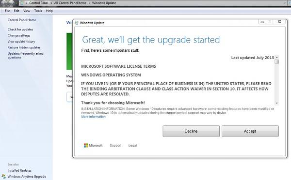 Windows-10 upgrade - Persyaratan dan ketentuan dari Microsoft