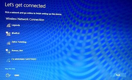 Windows-10 upgrade - Pilih koneksi internet untuk lanjutkan setting