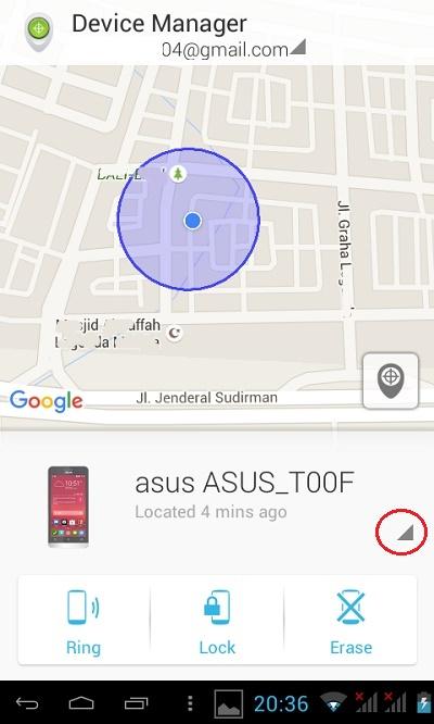 Aplikasi Android Device Manager pada perangkat android