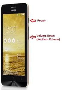 Melakukan screenshot pada Asus Zenfone 5 dengan tombol Power dan Volume down