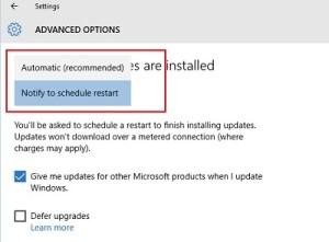 Windows 10: Pilihan Restart setelah install update