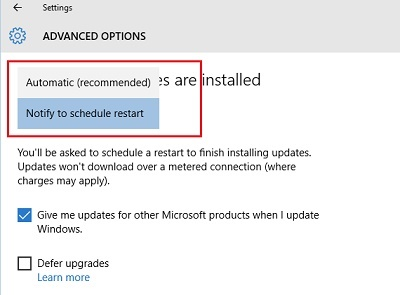Windows 10: Pilihan Restart setelah install update