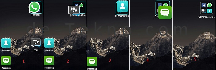 Cara membuat group ikon di Home screen android