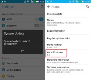 Asus Lollipop upgrade - Pop up proses upgrade selesai dan cek versi android