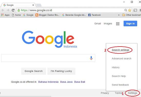 Settings halaman mesin pencari Google