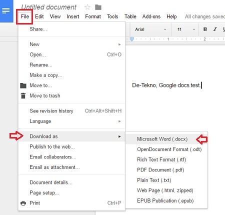 Convert Google Docs ke Microsoft Word