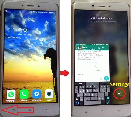 Redmi Note-One handed mode-left