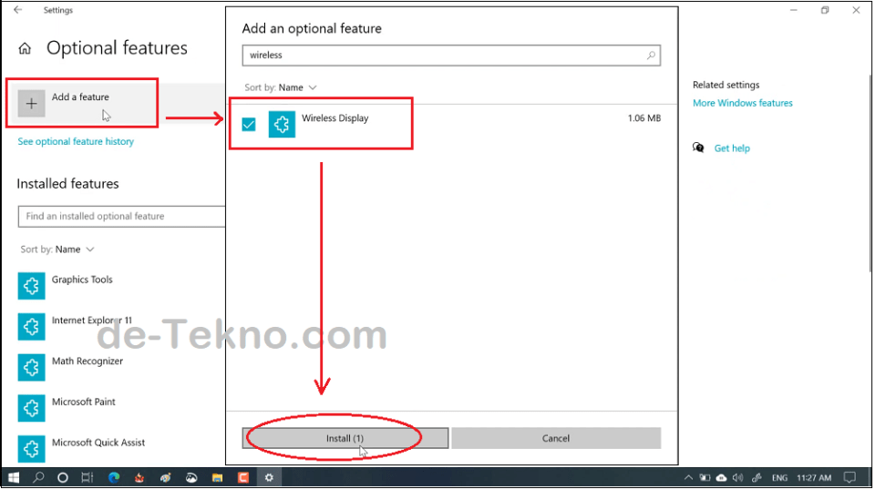 Mengaktifkan fitur Connect - Add a feature