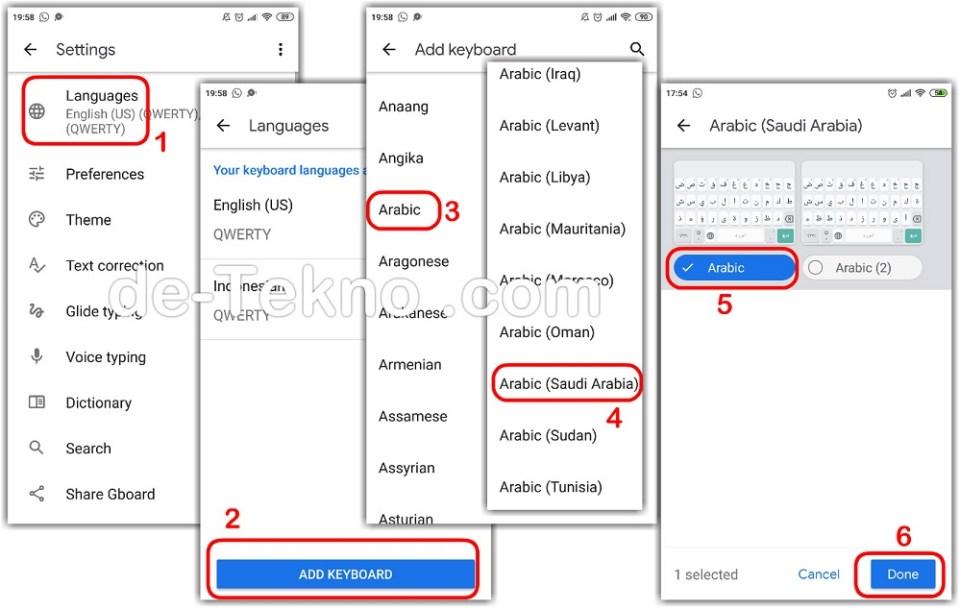 Settings menambahkan bahasa Arab di halaman Gboard