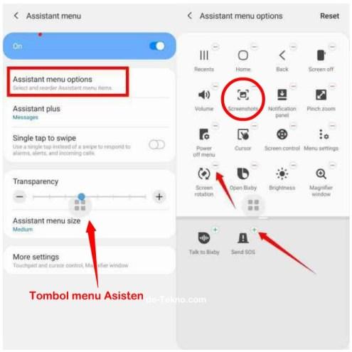 Screenshot dengan tombol menu asisten