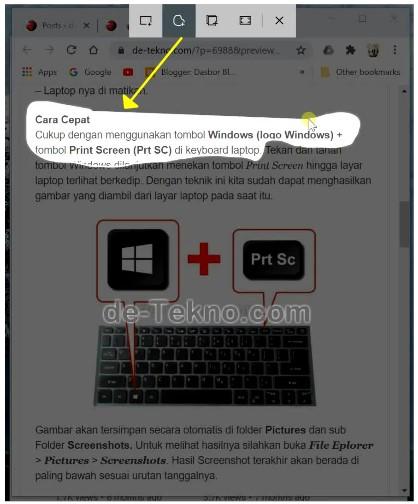 Freeform Snip Screenshot on laptop