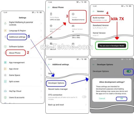 Mengaktifkan Developer options hp Oppo